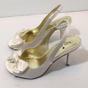Kate Spade Ivory satin bridal Heels sandals SZ 7 M